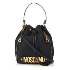 a178924ad18 Moschino - Black Lettering Leather And Nylon Bucket Bag - Lyst