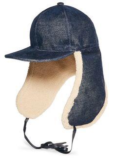 5519ce131fb Stella McCartney - Stretch-denim And Faux Shearling Hat - Blue Cappelli Per  Le Donne