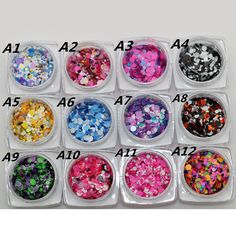 12 Nail Art Glitter ROUND Shapes Confetti Sequins Acrylic Tips UV Gel A Style Sale By 12pcs/set