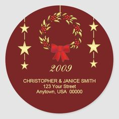 Whether you write them by hand or print them at home, check out our selection of Round Address Labels return address labels. Return Address Stickers, Return Address Labels, Christmas Address Labels, Holly Wreath, Custom Address Labels, Addressing Envelopes, Holiday Greeting Cards, Red Background, Christmas Wreaths