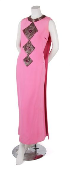 A Pierre Cardin Couture Pink Silk Faille Gown 1969