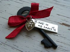 Key to my heart skeleton key ornament - hand stamped - red cloth ribbo - Whispering Metalworks