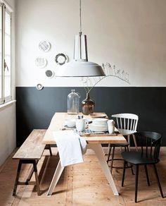 Bottom half dark, top half white. Dining room walls. Teal