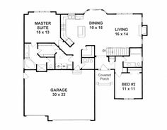 First Floor Plan of Traditional   House Plan 62638- could add some size to this plan- like the mstr closet - laundry