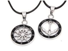 """A Pair of His and Her """"Compass and Anchor"""" Pendants with Twisted Braided Rope Leather Chain (QNN3031)"""