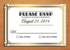 Great Gatsby / Roaring 20's Wedding RSVP by Sapphiredigitalworks, $10.00