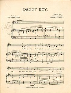 Danny boy; Old Irish air (a2303) - Historic American Sheet Music - Duke Libraries