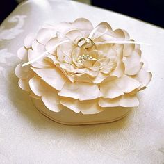 White or Ivory Floral Ring Pillow- Wedding Ceremony and Reception Ideas