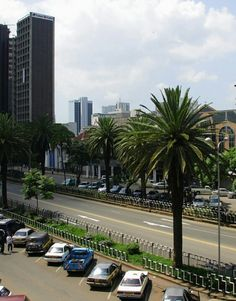 Street in the City Centre on a good day free of traffic jams, Nairobi, Kenya.