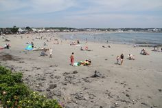 Kennebunk Beach (aka Gooches Beach) busy with tourists and locals enjoying the sunshine and warm weather! Plan your Kennebunk getaway today!