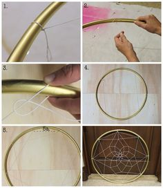 Lace DIY Dreamcatcher include butterfly and feathers. Love the gold outside.