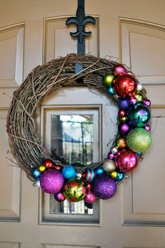 18in. Outdoor Christmas Decor Wreath. Spray paint white, and add ornaments.