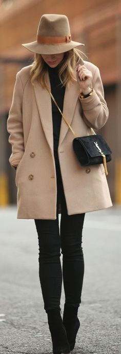 Camel Coat & Black Legging