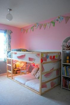IKEA Kura bed is a great loft bed, it is recommended for 6 years and older. Slatted bed base is included; the mattress must not be more than a total of 5 Ikea Nursery, Nursery Decals, Little Girl Rooms, Kid Beds, New Room, Girls Bedroom, Ikea Girls Room, Ikea Kids Bedroom, Bedroom Ideas