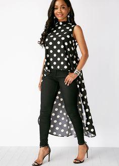 Polka Dot Black Sleeveless High Low Blouse - Trend Way Dress Winter Mode Outfits, Winter Fashion Outfits, Fashion Dresses, Traje Casual, Casual Wear, Blouse Styles, Blouse Designs, Mode Kimono, Oriental Fashion