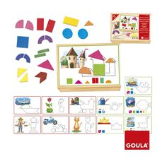 A fun and complete game of bright shapes and figures, ideal for children to develop mathematical, communication, language, arts and design skills . Children will learn the different geometric shapes by creating figures on a magnetic board.  Create different printed figures on sheets of silk-screened acetate. The set includes 12 acetate sheets which provide challenges at varying levels of complexity and 24 magnetic geometric shape pieces.