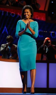 Michelle Obama wearing Maria Pinto (Monday, August 25, 2008: Democratic National Convention)