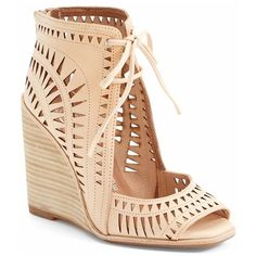 Women's Jeffrey Campbell 'Rodillo-Hi' Wedge Sandal ($145) ❤ liked on Polyvore featuring shoes, sandals, wedges, heels, sapatos, nude, vintage shoes, jeffrey campbell shoes, wedges shoes and peep toe wedge shoes