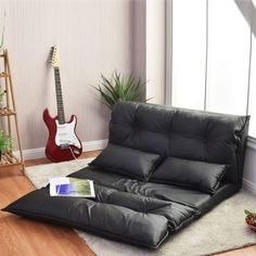 COSTWAY Double Folding Sofa Bed with 2 Pillows, 5-Position Adjustable Lounger Sleeper Seat Chair, Protable Lazy Couch PU Leather Large Guest Bed for Home Bedroom Living Room Office Indoor Leather Pillow, Leather Sofa, Pu Leather, Bed Settee, Sofa Chair, Living Room Lounge, Lounge Sofa, Modular Furniture, Sofa Furniture