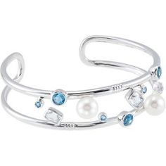 #68683, Freshwater Cultured Pearl, Genuine Swiss Blue Topaz   & Genuine Crystal Cuff Bracelet, Nathalie's Jeweler 936-242-3498