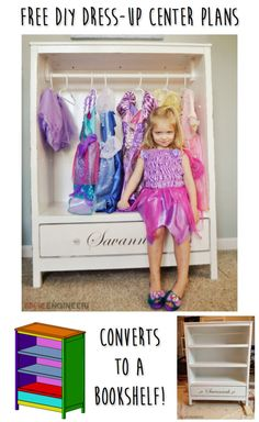 Learn how to build a dress-up center for your little one. Converts to a bookshelf! FREE plans and tutorial at RogueEngineer.com!