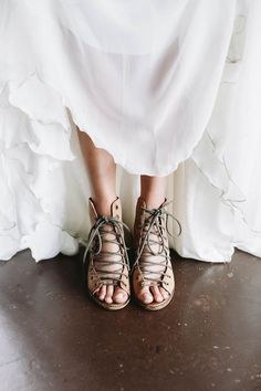Love the bride s lace-up heels from this bohemian + industrial wedding  e68197f1220