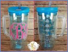 Drink more water!   Custom Cups with water decals to drink more water throughout the day!  #drinkmorewater #watercup #bubbacup #vinyl #gift #teachergift #monogram #summerdrinks   www.facebook.com/missbsbowtique05