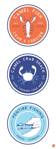 These are the circle logos Pickle Design created for Camel Fish Crab and Lobster, their prepared crab meat shop, Camel Crab Shack and Pentire Fishing fleet logo. A proper Cornish company with fresh new branding. Circle Logo Design, Circle Logos, Graphic Design, Web Design, Design Ideas, Bakery Logo Design, Branding Design, Branding Ideas, Logo Branding