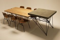 HG CONCRETE + WOOD + STEEL TABLE by Gore Design Co.
