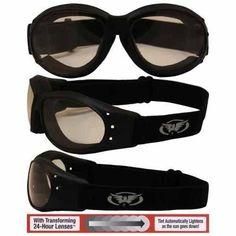 Eliminator Black Frame Motorcycle Goggles Clear-Smoke Photochromic Shatterproof #Eliminator #Goggles