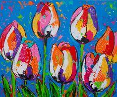 Tulips in blue www.vrolijkschilderij.nl