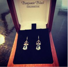 White gold, diamond and aquamarine earrings, by Benjamin Black Goldsmiths