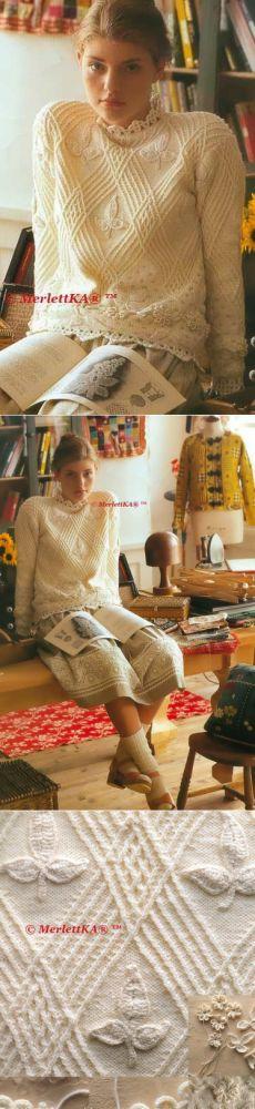 Пуловер с геометрическими косами и аппликациями + чехол на подушку с жаккардовым узором