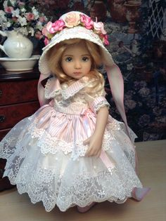 "Dianna Effner Little Darling Doll ""Silk and Bows "" with Regency Bonnet Ensemble 