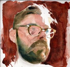 Selfportrait, watercolor on arches paper