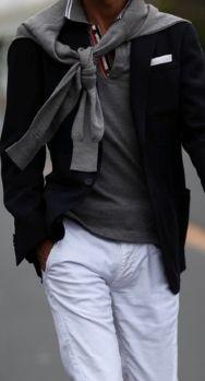 white slacks and jacket