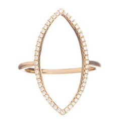 Mary Navette Ring - White Diamonds and 18k Rose Gold by Meredith Marks Jewelry