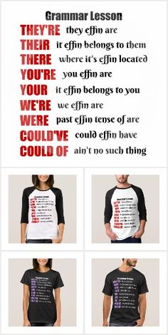 Grammar Lesson Humor Shirts - They're, Their, There