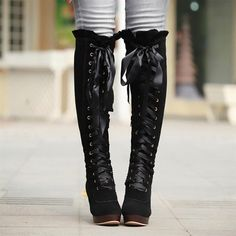 Womens knee high Boots faux suede lace up platform block heel round toe Fashion Knee High Heels, Chunky High Heels, Bow Boots, Knee Boots, Winter Fashion Boots, Monochrom, Platform Boots, Black Platform, Lace Up Heels
