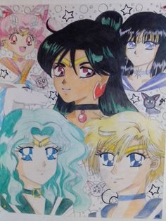 Sailor Moon Outer Senshi : Mini Moon (Chibi USA), Saturn, Pluto, Neptune, Uranus. For Fun I added in Artemis, Luna, Diana, and Pegasus. https://www.facebook.com/KamiCreations224/