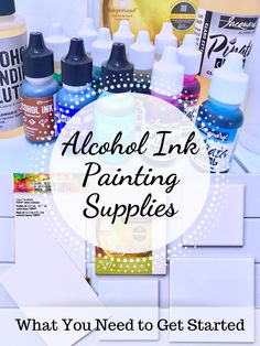 A list of alcohol ink painting supplies including inks, surfaces, and other materials used for creating colorful art with this unique medium.Alcohol Ink Painting Supplies: What You Need to Get Started - A list of basic items needed to get started wit Alcohol Ink Jewelry, Alcohol Ink Crafts, Alcohol Ink Painting, Alcohol Ink Art, Paint Types, Types Of Art, Homemade Alcohol, Ceramic Painting, Acrylic Pouring