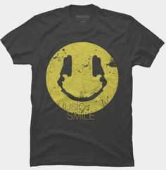 Music makes you smile shirt. Smile made from headphone's shadow. Cool retro look artwork.