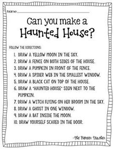 halloween activities Haunted House (Halloween) Activity: The Directions can you make a Halloween Activities For Kids, Halloween Games, Holiday Activities, September Activities, Halloween Worksheets, Halloween Speech Therapy Activities, Team Bonding Activities, Halloween Teacher Gifts, Educational Activities