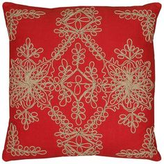 18 Inch X 18 Inch Red Decorative Pillow With Applique, Jute Embroidery Cotton Cording Details