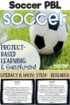 hese Soccer themed project-based learning and enrichment projects put ownerhsip of learning into your student's hands and enrich your students through independent work study. Engage your classroom during your soccer unit with these ten printables that hav