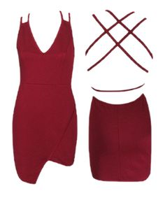 Strappy Back V-Neck Bodycon Dress - Available in wine, black and olive