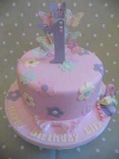 Art Birthday Cake, 1st Birthday Cake For Girls, Butterfly Birthday Cakes, Baby Birthday Cakes, Butterfly Cakes, Cake Designs For Girl, Bolo Minnie, Baby Girl Cakes, Cake Decorating Techniques