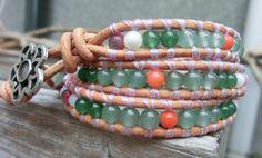 Handmade Triple Leather Wrap Gemstone Chan Luu Style Bracelet Aloha! by OffOnAWhimJewelry, $58.80
