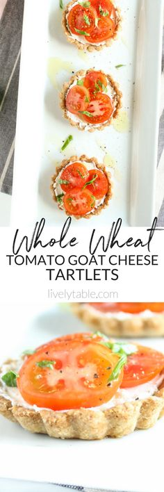 Whole Wheat Goat Cheese Tomato Tartlets are the perfect adorable bite of summer! They are great as an appetizer, snack or light lunch! #goatcheese #summerrecipes| via livelytable.com