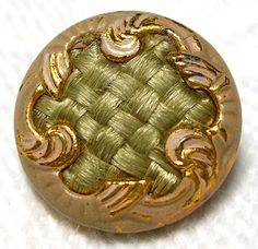 ANTIQUE VICTORIAN GILT ENAMEL BUTTON w/LOVELY INTRICATELY WOVEN BLONDE HAIR
